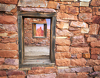 Window in fort at Lee's Ferry. Arizona Mountain in window added,