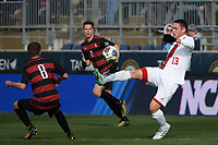 Chester, PA - Sunday December 10, 2017: Francesco Moore Stanford University defeated Indiana University 1-0 in double overtime during the NCAA 2017 Men's College Cup championship match at Talen Energy Stadium.