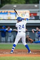 Emmanuel Rivera (24) of the Burlington Royals at bat against the Bluefield Blue Jays at Burlington Athletic Stadium on June 28, 2016 in Burlington, North Carolina.  The Royals defeated the Blue Jays 4-0.  (Brian Westerholt/Four Seam Images)