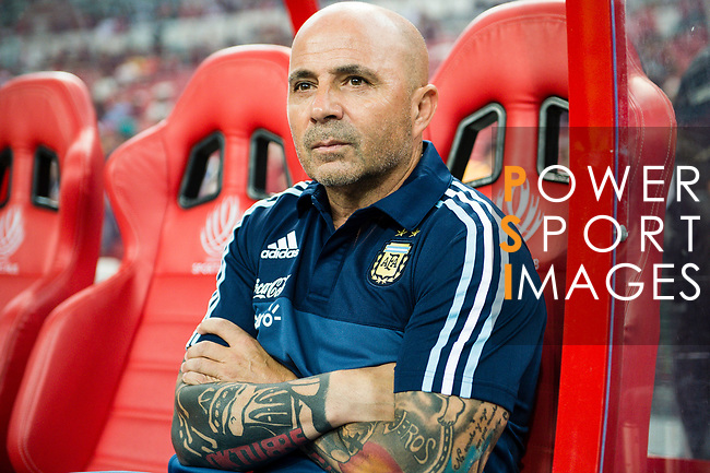 Head coach of Argentina Jorge Sampaoli during the International Test match between Argentina and Singapore at National Stadium on June 13, 2017 in Singapore. Photo by Marcio Rodrigo Machado / Power Sport Images