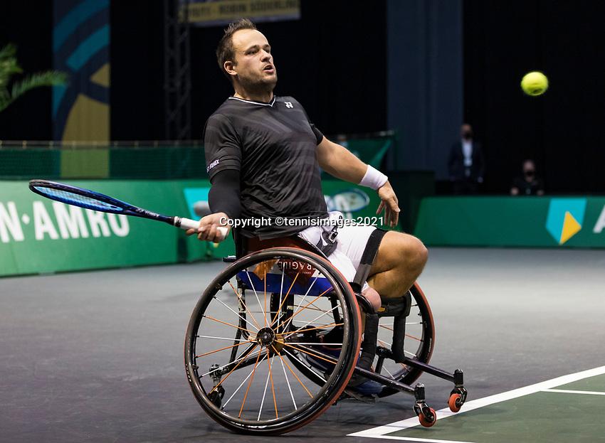 Rotterdam, The Netherlands,7 march  2021, ABNAMRO World Tennis Tournament, Ahoy,  <br /> Doubles Final Wheelchair: Tom Egberink (NED).<br /> Photo: www.tennisimages.com/henkkoster