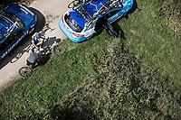 "Alfdan De Decker (BEL/Wanty - Groupe Gobert) needing some mechanical assistance. <br /> <br /> Antwerp Port Epic 2018 (formerly ""Schaal Sels"")<br /> One Day Race: Antwerp > Antwerp (207km of which 32km are cobbles & 30km is gravel/off-road!)"