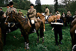 Quantock Staghounds 1990s Uk Quantock Hills Somerset and Exmoor Lawn Meet Bagborough House. The  last Meet of hunting season 1997.  Sandwiches being passed around.