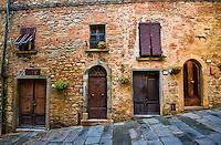 Different doorways in Volterra, Italy