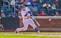 20 April 2013: New York Mets outfielder Collin Cowgill connects for a 2-RBI single in the bottom of the 4th inning against the Washington Nationals at Citi Field in Flushing, NY. The Mets fell to the visiting Nationals 7-6, tying their 3-game weekend series at one a piece. Mandatory Credit: Ed Wolfstein Photo *** RAW (NEF) Image File Available ***