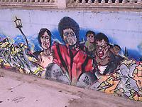 Colorful street graffiti in Callela summer resort,Barcelona district,Catalonia Spain
