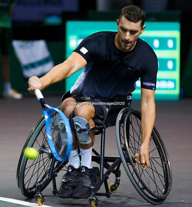 Rotterdam, The Netherlands, 9 Februari 2020, ABNAMRO World Tennis Tournament, Ahoy, Wheelchair: Alfie Hewett (GBR).<br /> Photo: www.tennisimages.com