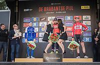 Sonny Colbrelli (ITA/Bahrain-Merida) getting the podium kisses, while Petr Vakoc (CZE/QuickStep Floors) & <br /> Tiesj Benoot (BEL/Lotto-Soudal) stand by<br /> <br /> 57th Brabantse Pijl - La Flèche Brabançonne (1.HC)<br /> 1 Day Race: Leuven › Overijse (197km)