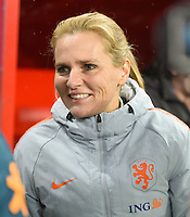20200304 Valenciennes , France :  Dutch Head Coach Sarina Wiegman pictured during the female football game between the national teams of The Netherlands and Brasil on the first matchday of the Tournoi de France 2020 , a prestigious friendly womensoccer tournament in Northern France , on wednesday 4 th March 2020 in the Stade du Hainaut of Valenciennes , France . PHOTO SPORTPIX.BE | DIRK VUYLSTEKE