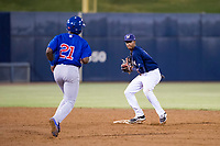 AZL Brewers shortstop Yeison Coca (7) prepares to turn a double play ahead of Delvin Zinn (21) against the AZL Cubs at Maryvale Baseball Park in Phoenix, Arizona. AZL Cubs defeated the AZL Brewers 9-1. (Zachary Lucy/Four Seam Images)