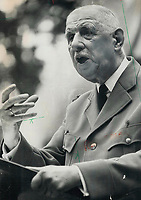 The giant of France, soldier-statesman Charles de Gaulle, when he arrived in Quebec city in 1967 for an official visit during Expo. His triumphant cavalcade through Quebec ended abruptly when Ottawa chided him for his famed Quebec libre speech.<br /> <br /> PHOTO :  Jeff Goode - Toronto Star Archives - AQP