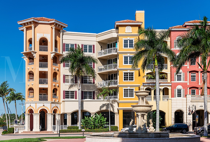 Bayfront, shops and condominiums on the waterfront, Naples, Florida, USA.