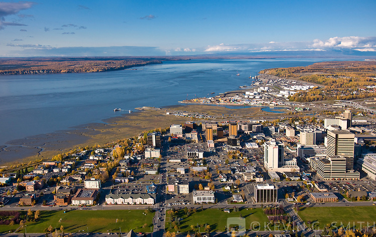 Aerial photo of the Anchorage Skyline, looking North towards Knik Arm and the Talkeetna Mountains, Fall, Anchorage, Southcentral Alaska, USA.