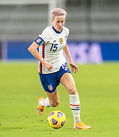 ORLANDO, FL - JANUARY 22: Megan Rapinoe #15 of the USWNT dribbles during a game between Colombia and USWNT at Exploria stadium on January 22, 2021 in Orlando, Florida.
