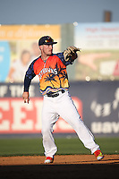 Alex Bregman (6) of the Lancaster JetHawks makes a throw during a game against the High Desert Mavericks at The Hanger on September 5, 2015 in Lancaster, California. High Desert defeated Lancaster, 7-6. (Larry Goren/Four Seam Images)