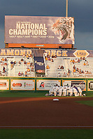 The LSU Tigers huddle at Alex Box Stadium before their NCAA baseball game against the Mississippit State Bulldogs on March 16, 2012 at Alex Box Stadium in Baton Rouge, Louisiana. LSU defeated Mississippi State 3-2 in 10 innings. (Andrew Woolley / Four Seam Images).