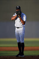 Tampa Yankees starting pitcher Dillon Tate (22) looks in for the sign during a game against the Palm Beach Cardinals on July 25, 2017 at George M. Steinbrenner Field in Tampa, Florida.  Tampa defeated Palm beach 7-6.  (Mike Janes/Four Seam Images)