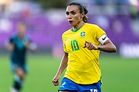 ORLANDO, FL - FEBRUARY 18: Marta #10 of Brazil sprints during a game between Argentina and Brazil at Exploria Stadium on February 18, 2021 in Orlando, Florida.