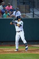 Antonio Cabello (22) of the Pulaski Yankees at bat against the Burlington Royals at Calfee Park on August 31, 2019 in Pulaski, Virginia. The Yankees defeated the Royals 6-0. (Brian Westerholt/Four Seam Images)
