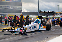 Jul 12, 2020; Clermont, Indiana, USA; NHRA top fuel driver Leah Pruett during the E3 Spark Plugs Nationals at Lucas Oil Raceway. This is the first race back for NHRA since the start of the COVID-19 global pandemic. Mandatory Credit: Mark J. Rebilas-USA TODAY Sports
