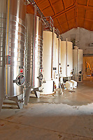 Chateau Mire l'Etang. La Clape. Languedoc. Painted steel vats. France. Europe.