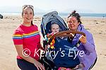 Enjoying a stroll on Inch beach on Saturday, l to r: Louise Murphy, Georgina and Oisin Foley
