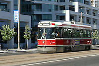A horizontal shot of a Toronto streetcar
