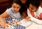 9 year old girl categorizing her shell collection showing her younger female cousin how she does it Hispanic American Dominican