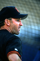 Robby Thompson of the San Francisco Giants at Dodger Stadium in Los Angeles,California during the 1996 season. (Larry Goren/Four Seam Images)