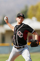 Phil Bickford of Oaks Christian High School pitches against Grace Brethren School during a High School baseball game at Grace Brethren on May 3, 2013 in Simi Valley, California. (Larry Goren/Four Seam Images)