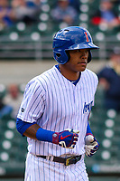 Iowa Cubs shortstop Addison Russell (3) jogs to first base during a Pacific Coast League game against the San Antonio Missions on May 2, 2019 at Principal Park in Des Moines, Iowa. Iowa defeated San Antonio 8-6. (Brad Krause/Four Seam Images)