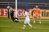 SAN JOSE, CA - OCTOBER 03: Tanner Beason #15 of the San Jose Earthquakes goes up for a header during a game between Los Angeles Galaxy and San Jose Earthquakes at Earthquakes Stadium on October 03, 2020 in San Jose, California.