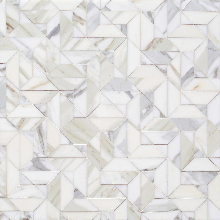 Zachary, a hand-cut stone mosaic, show in polished Calacatta Gold, is part of the Semplice® collection for New Ravenna.