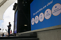 Walmart CEO Doug McMillon speaks, Friday, June 4, 2021 during the annual Walmart Associate Celebration at the Arkansas Music Pavilion in Rogers. Walmart held their associates meeting mostly virtually with a small celebration in person at the AMP. Check out nwaonline.com/210605Daily/ for today's photo gallery. <br /> (NWA Democrat-Gazette/Charlie Kaijo)
