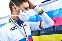 Picture by Simon Wilkinson/SWpix.com - 25/09/2020 - Cycling - UCI 2020 Road World Championships IMOLA - EMILIA-ROMAGNA ITALY - Individual Time Trial Men Elite - Filippo Ganna of Italy wins the Men's Elite Individual Time Trial. - SANTINI