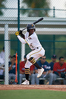 GCL Pirates Norkis Marcos (3) at bat during a Gulf Coast League game against the GCL Twins on August 6, 2019 at Pirate City in Bradenton, Florida.  GCL Twins defeated the GCL Pirates 1-0 in the second game of a doubleheader.  (Mike Janes/Four Seam Images)