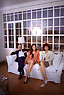Lo scrittore Roberto Gervaso fotografato insieme alla figlia Veronica e La Moglie nella saua casa Romana, anni 90