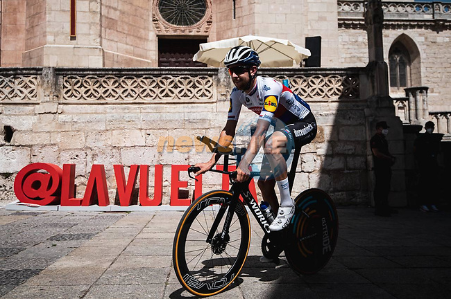 Josef Cerny (CZE) Deceuninck-Quick Step recons Stage 1 of La Vuelta d'Espana 2021, a 7.1km individual time trial around Burgos, Spain. 14th August 2021. <br /> Picture: Unipublic/Charly Lopez | Cyclefile<br /> <br /> All photos usage must carry mandatory copyright credit (© Cyclefile | Unipublic/Charly Lopez)