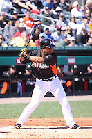 Miami Marlins Donovan Solano (17) at bat against the New York Mets during a spring training game at the Roger Dean Complex in Jupiter, Florida on March 3, 2013. Miami defeated New York 6-4. (Stacy Jo Grant/Four Seam Images)........