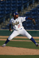 Victor Araujo (31) of the Rancho Cucamonga Quakes pitches during a game against the Bakersfield Blaze at LoanMart Field on June 1, 2015 in Rancho Cucamonga, California. Rancho Cucamonga defeated Bakersfield, 5-2. (Larry Goren/Four Seam Images)