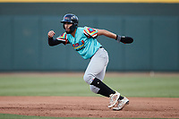 Jonathan Ornelas (3) of the Llamas de Hickory takes his lead off of first base against the Winston-Salem Rayados at Truist Stadium on July 6, 2021 in Winston-Salem, North Carolina. (Brian Westerholt/Four Seam Images)
