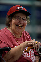 Batavia Muckdogs fan during a NY-Penn League game against the Lowell Spinners on July 10, 2019 at Dwyer Stadium in Batavia, New York.  Batavia defeated Lowell 8-6.  (Mike Janes/Four Seam Images)