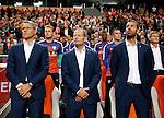 Nederland, Amsterdam, 3 september 2015<br /> Kwalificatiewedstrijd EK 2016<br /> Nederland-IJsland<br /> V.l.n.r.: Marco van Basten, assistent, bondscoach Danny Blind en Ruud van Nistelrooy, assistent.