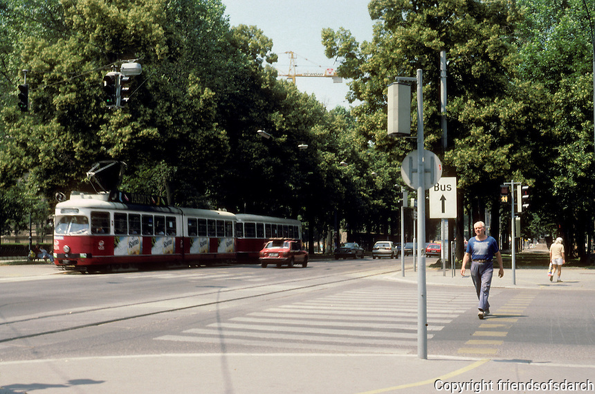 """Vienna: View of Ringstrasse: Burg Ring near entrance to the """"Burg"""", the Imperial Palace. Photo '87."""