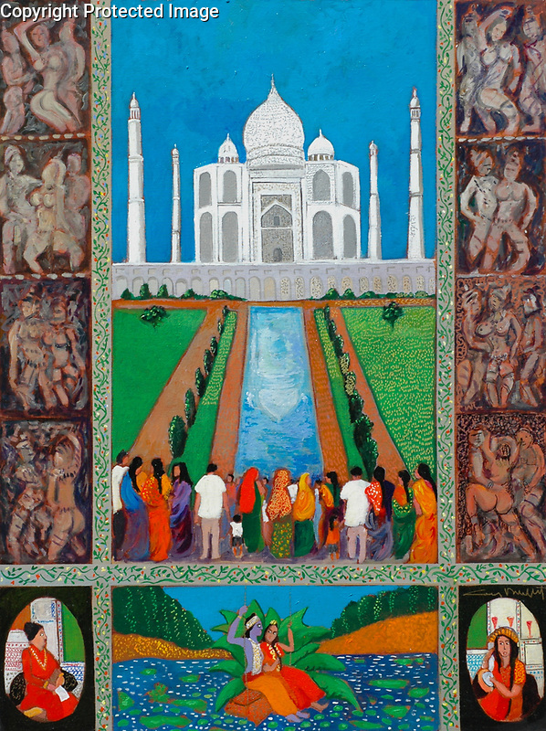 Taj Mahal<br /> 40x30 Acrylic on Canvas<br /> <br /> $18,000<br /> <br /> Guy went to visit His Holiness the Dalai Lama about a special project and visited the incredible Taj Mahal, which inspired this whimsical, colorful and sexy painting about a palace of LOVE.