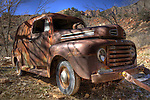 A beautifully rusted Ford rests near the entrance to Zion National Park.