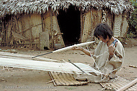 Machiguenga Indian woman weaving with cotton in front of her hut, Yomibato native community, Manu National Park, Madre de Dios, Peru.