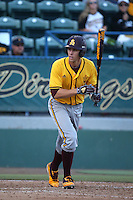 Colby Woodmansee (37) of the Arizona State Sun Devils bats against the Long Beach State Dirtbags at Blair Field on February 27, 2016 in Long Beach, California. Long Beach State defeated Arizona State, 5-2. (Larry Goren/Four Seam Images)
