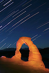 Star trails over Delicate Arch in Arches National Park, near Moab, Utah
