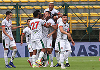 BOGOTÁ- COLOMBIA, 16-10-2021:Mateo Rodas de Patriotas Boyacá celebra después de anotar el  gol de su equipo durante partido por la fecha 14 entre La Equidad y Patriotas Boyacá como parte de la Liga BetPlay DIMAYOR II 2021 jugado en el estadio Metropolitano de Techo de la ciudad de Bogotá. /Mateo Rodas of Patriotas Boyaca celebrates after scoring the goal of his team during Match for the date 14 between La Equidad and Patriotas Boyaca as part of the BetPlay DIMAYOR League II 2021 played at stadium in Metropolitano de Techo in Bogota city. Photo: VizzorImage / Felipe Caicedo / Staff